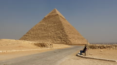 Security Guard and Pyramid of Giza - Egypt - stock footage