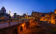 Trajans Column and Basilica Ulpia in Rome, Italy - stock photo