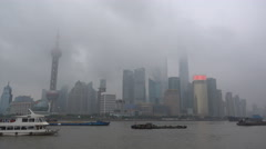 Shanghai skyline, thick clouds, mist, rainy day, storm weather China Stock Footage