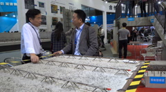 China trade show, networking, concrete manufacturer, building material, business - stock footage