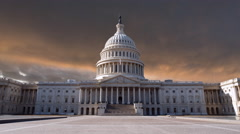 US Capitol Building with Time Lapse Sunset Sky. Stock Footage