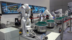 Automated assembly line at robotics technology trade fair in Shanghai, China Stock Footage