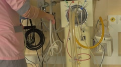 Nurse is Correcting the Thin Tubes Intensive Therapy Room Unit Specializing in - stock footage