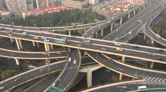 Traffic driving over busy elevated highway in Shanghai China Stock Footage