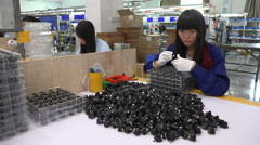 Chinese factory worker, quality control, employment, job, packing department Stock Footage