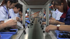 China production, electronics factory, assembly line, export model, economy Stock Footage