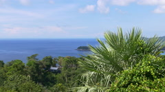 Summer sun light coastline ocean hill house panorama 4k phuket thailand Stock Footage