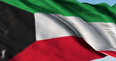 Stock Video Footage of Ultra realistic looping flag: Kuwait