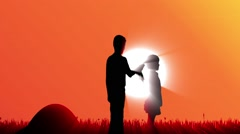 Silhouette of boy and girl. Stock Footage