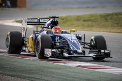 MONTMELO, SPAIN- FEBRUARY 25, 2016. Driver Felipe Nasr.  Team Sauber F1 - stock photo
