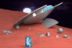 Ufo crashed over sandy planet Stock Illustration
