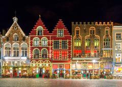 Brugge. Market Square at night. - stock photo