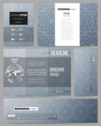 Set of templates for presentation, brochure, flyer or booklet. Abstract floral - stock illustration