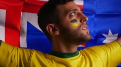 Australian Fan Cheering with Australia Flag Stock Footage