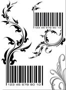 Pair of vector illustrations - bar codes with floral branch. Can use as conce Stock Illustration