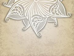 Vintage vector background in grunge style burn color with half of lace decora Stock Illustration