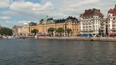 View to the seaside and buildings from the ferry ship in Stockholm, Sweden. Stock Footage
