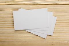 White blank business visit card, gift, ticket, pass, present clo - stock photo
