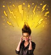 Young woman with hair style and hand drawn lightnings - stock photo