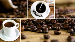 Montage collection of clips showing coffee beans and cups of coffee Stock Footage