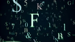Flying letters and symbols on blue Stock Footage