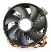 CPU fan with aluminum radiator - stock photo