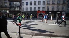 The Paris Half Marathon Stock Footage