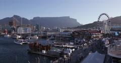 Panoramic view of the famous Victoria and alfred waterfront Cape Town Stock Footage