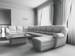 White sofa in interior - stock illustration