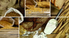 Montage collection of clips showing  sheaf of wheat ears, flour and bread Stock Footage