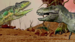 Dinosaur.Prehistoric Jungle,landscape, valley with Dinosaurs.realistic animation - stock footage