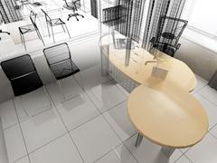 Modern office interior - stock illustration