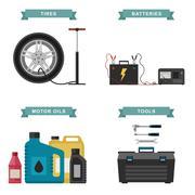 Auto parts flat icons. Stock Illustration