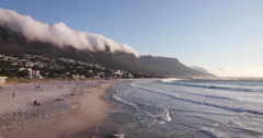 Panoramic view of Camps Bay Beach Cape Town Stock Footage