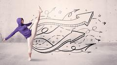Street dancer with arrows and stars - stock photo