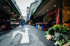 Street market in the Zhongzheng District, Taipei, Taiwan. Stock Photos