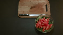 Beet Slicing For Vegetable Salad With Spinach Stock Footage