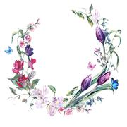 Vintage wreath with Sweet Peas, Tulips and Butterflies - stock illustration
