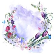 Vintage wreath with Sweet Peas, Tulips and Butterflies Stock Illustration
