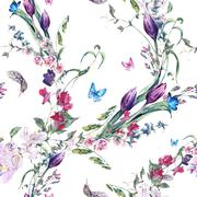 Watercolor Seamless Background with Sweet Peas, Tulips - stock illustration