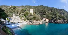 The Abbey of San Fruttuoso is a medieval Catholic abbey on the coast near Por - stock photo