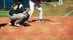 Catcher and batter waiting for pitch during baseball game. - stock footage