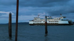 Ferry departing at twilight #1 Stock Footage