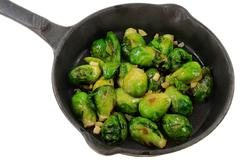 Fried Brussels sprouts (Cabbage) - stock photo