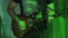 Rock Band Green Light Guitars Stock Footage