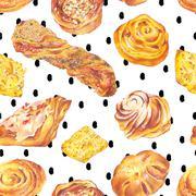 Hand drawn baking seamless background - stock illustration