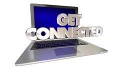 Get Connected 3D Words Computer Laptop Link Internet Website Stock Footage