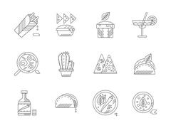 Set of linear mexican food vector icons - stock illustration