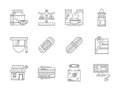 Pharmacy flat line vector icons set - stock illustration