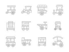 Set of linear food trolley vector icons - stock illustration